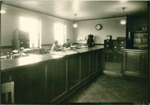 The original lobby of City Hall, when the entrance faced Warrensville Center Road. (Taken from the City Hall Archives.)