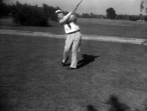 A golfer at the University Heights Golf Course, located between Warrensville Center Road and South Belvoir Boulevard along Cedar Road. Visit the Cleveland Memory project at (http://images.ulib.csuohio.edu/cdm/singleitem/collection/clevehts/id/2145/rec/1)